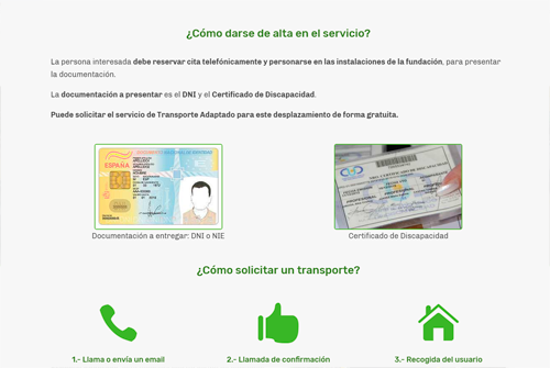 Página de servicios de la Fundación