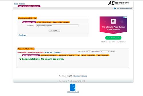 Accesibilidad en el sitio web de la Fundación