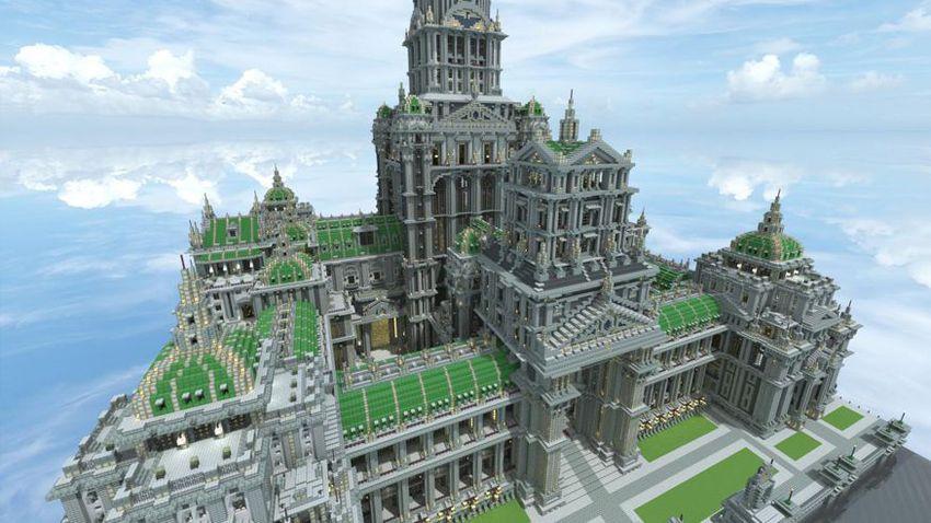 Palacio de Invierno creado en Minecraft
