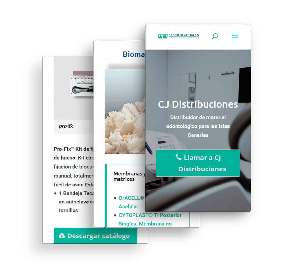 CJ Distribuciones, vista del sitio web en smartphone
