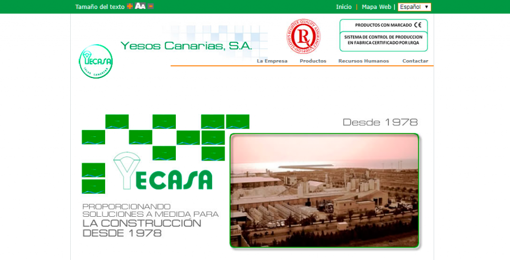 Sitio web antiguo de YECASA